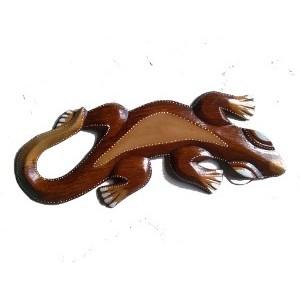 Gecko 30 cm bois antique